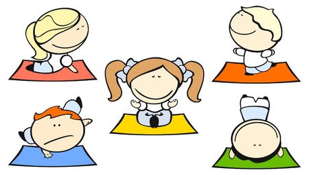 cartoon yoga: Set of images of funny kids on a white background #29, yoga theme