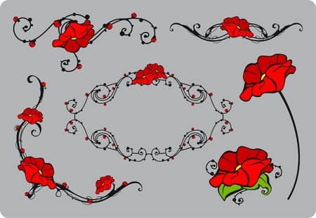 Set of floral decorative elements Vector