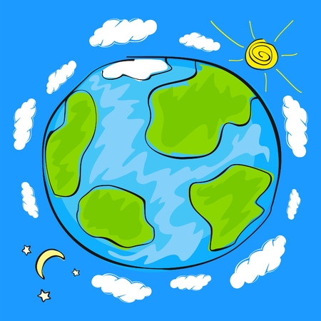earth space: Childs drawing of the planet Earth