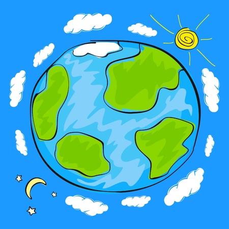 tag und nacht: Kinderzeichnung des Planeten Erde Illustration