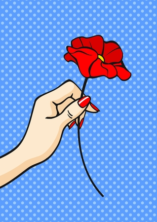nail art: Flower in a hand Illustration
