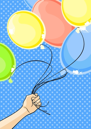 Hand holding a bunch of balloons Stock Vector - 7164485