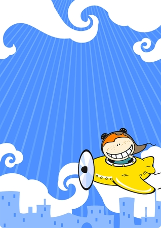 funny travel: Card with a boy in a small yellow airplane Illustration