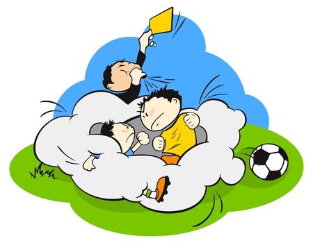 Vechten op een voetbalveld (voetbal) Vector Illustratie
