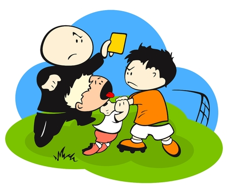judge players: Fight at a football (soccer) field Illustration