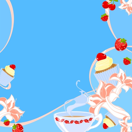 Summer tea theme card Vector