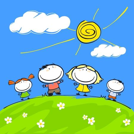 sol caricatura: Familia feliz