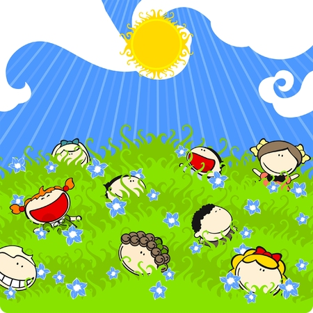 fun grass: Sunny summer day Illustration