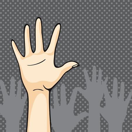 bye: Hands up Illustration