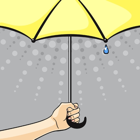 yellow umbrella: Hand with yellow umbrella