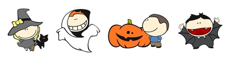 Set of images of funny kids on a white background #18, halloween theme Vector