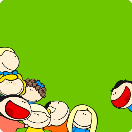Background with cute cartoon kids Vector