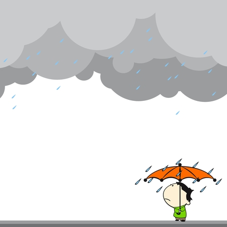 Little boy under the rain Vector