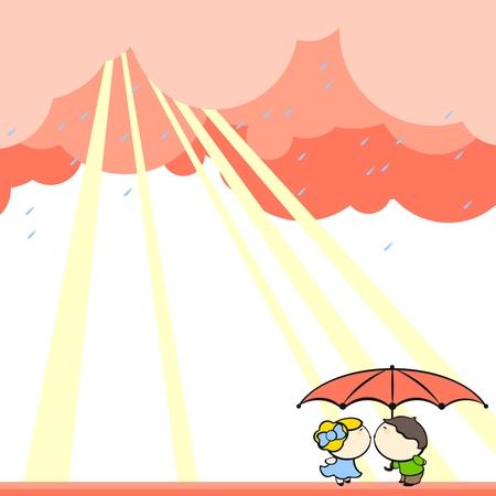 Cute couple kissing under the rain Vector