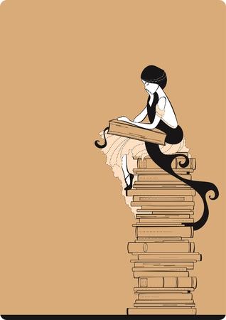 mujer leyendo libro: Lector