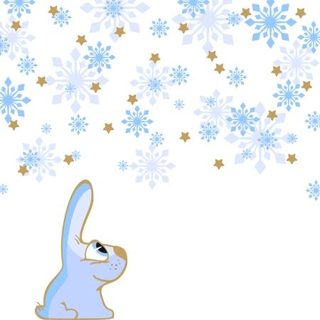 Rabbit and snowfall Vector