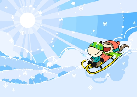 snow sled: Cute kids sledding Illustration