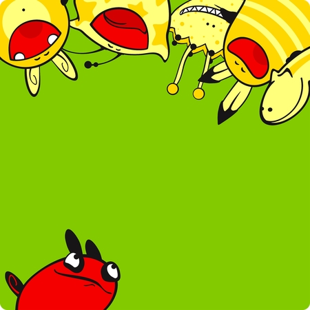 Yellow and red monsters Vector