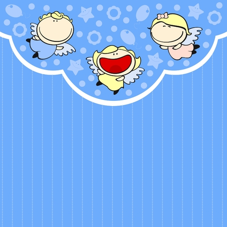 Cute card with baby angels Vector