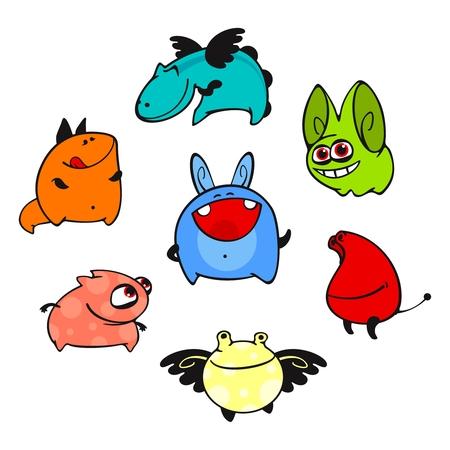 amusant: Ensemble d'images d'amusants multicolores animaux inconnus # 8 Illustration