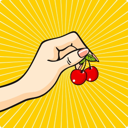 Hand with a cherry Vector