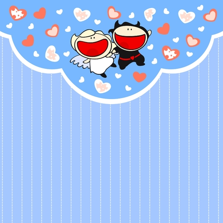 Cute card with angel and devil couple Vector
