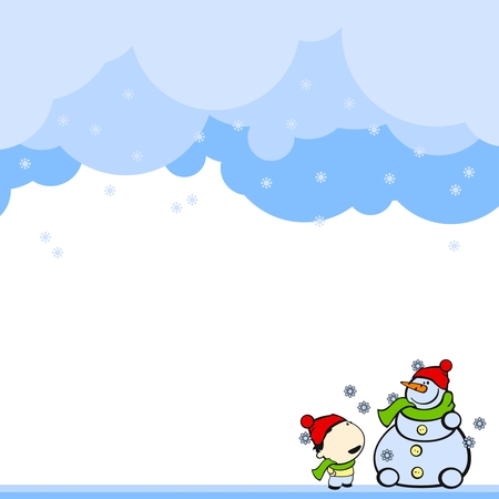 green day baby blue background: Cute card with a boy and a snowman Illustration