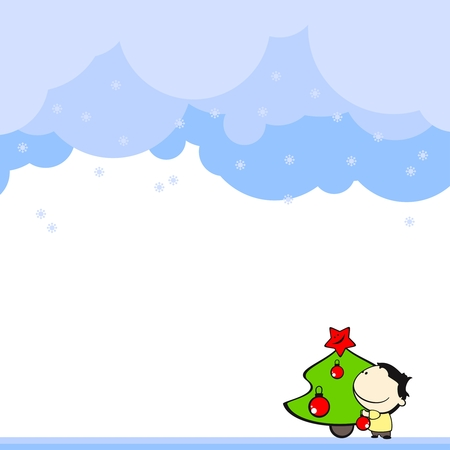 Cute card with a boy and a christmas tree Vector