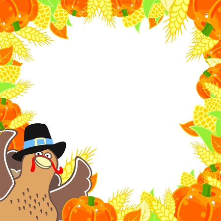 autumn leaf frame: Thanksgiving frame with a turkey Illustration