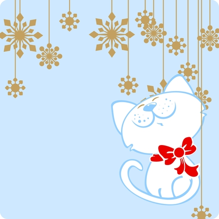 Cute cat and snowflakes Vector