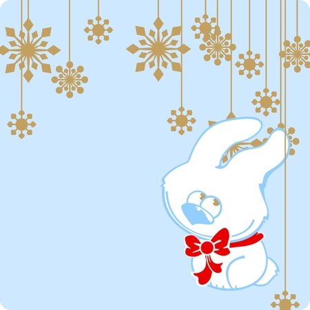 Cute rabbit and snowflakes Vector