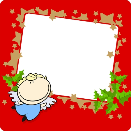 Christmas frame with a cute little angel Vector