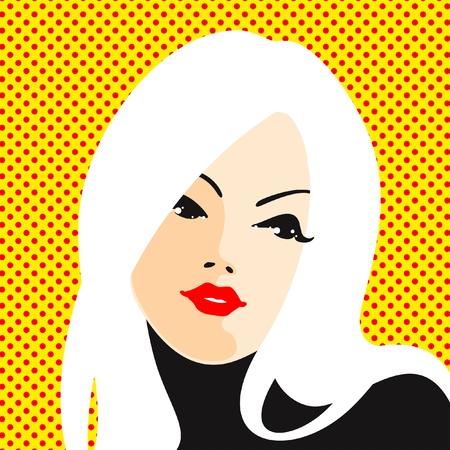 vintage art: Retro style portrait of a young blonde woman