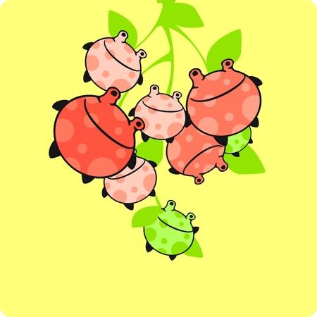 Funny monster fruit card Vector
