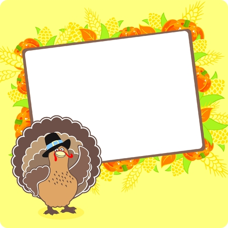Thanksgiving frame with a turkey Stock Vector - 8265517