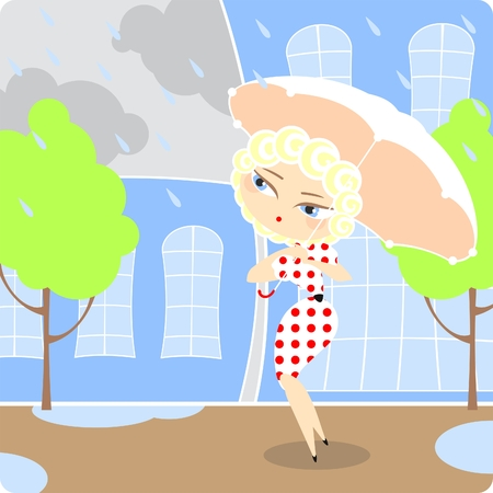 Girl under the rain Stock Vector - 8379848