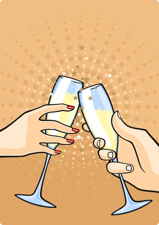Hands with champagne Vector