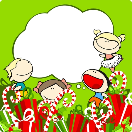 Card with cute kids, sweets and christmas presents Vector