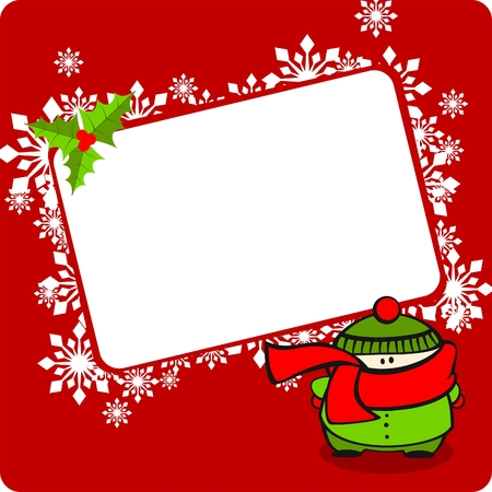 Winter frame with a kid Vector