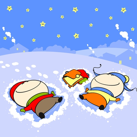 Snow angels Vector