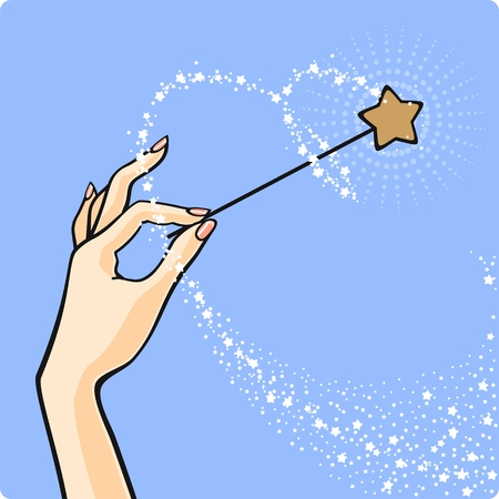Hand with a magic wand Stock Vector - 8923976