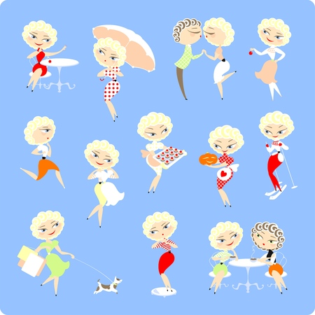 Set of images of a girl Vector