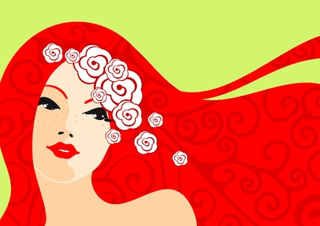 Red hair girl Vector