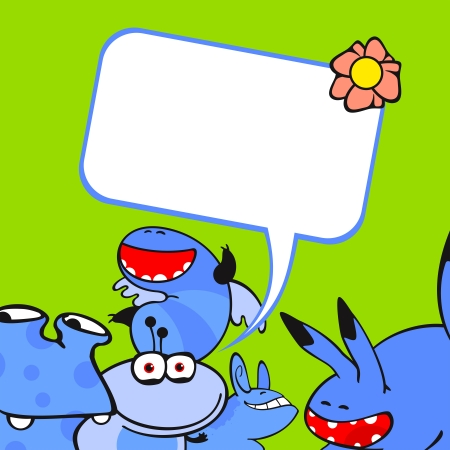 Cute card with a group of little blue monster friends Vector