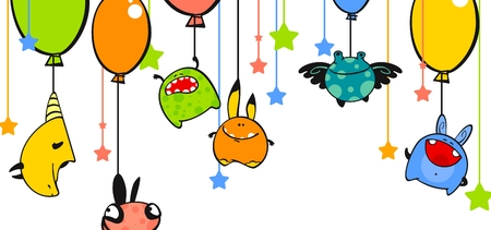 cute alien: Monsters and balloons