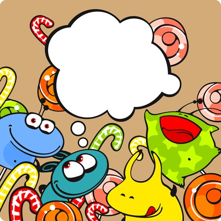 Monsters and candies Vector
