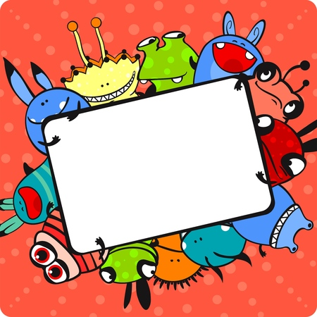dinosaur cute: Pink monster frame Illustration