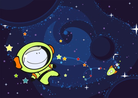 explorer: Little astronaut in an open space
