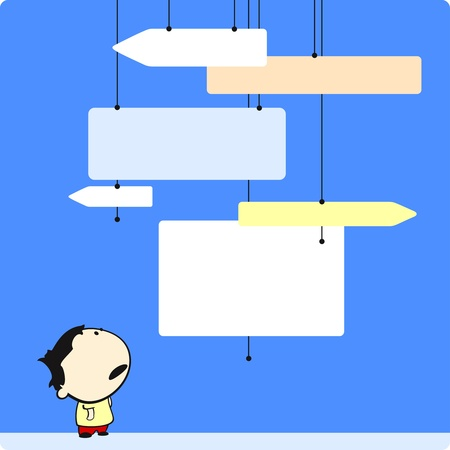 signpost: Boy looking at direction signs Illustration