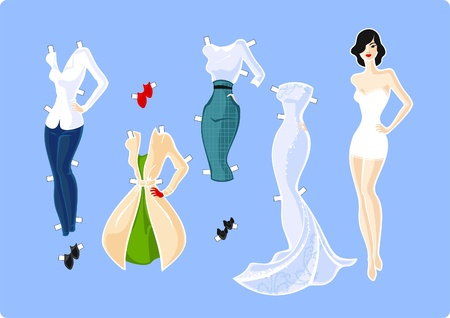 Paper doll and her wardrobe Vector